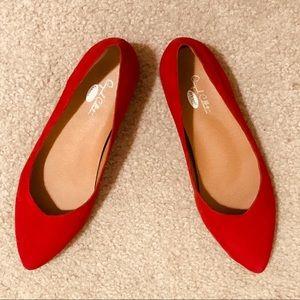 Dr Scholls Red Suede with Contrast Wood Heel